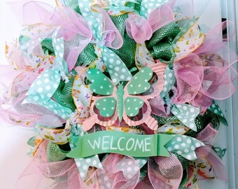 Summer welcome butterfly wreath