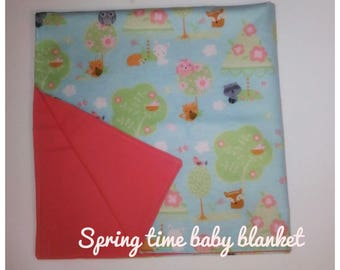 Baby blanket/ baby receiving blanket/ swaddle blanket/ newborn swaddle wrap/ springtime themed blanket/ baby gift/ shower gift/ newborn gift