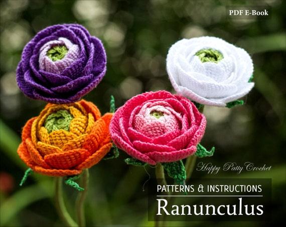 Crochet Ranunculus Pattern Crochet Flower Pattern For