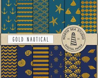 GOLD NAUTICAL | Digital Paper Pack | Scrapbook Paper | Printable Backgrounds | 12 JPG, 300dpi Files | Coupon Code: BUY5FOR8