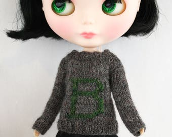 Blythe doll B is for Blythe Sweater knitting PATTERN - cute Weasley initial B sweater - instant download - permission to sell finished items