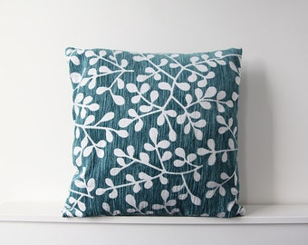 Teal floral square cushion cover, Throw cushion cover, Scatter cushion cover, Throw pillow cover, Decorative pillow cover
