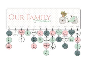 Family Celebrations Board, Personalized Assembled Family, Family Birthdays, Birthday Reminders, Parents Grandparents Gift, Family Blessings