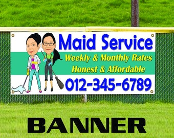 Maid Service Weekly and Monthly Rates Servant Custom Banner Sign