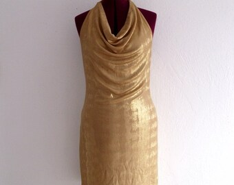 Holiday Sale 40% off Gold Lame Mini Halter Dresses