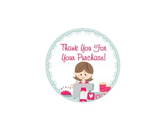 Thank You Stickers - Thank You Tags - Thank You For Your Purchase Sticker - Thank You For Your Order - Round 1.5 Inches - Sewing 6