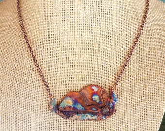 Landscape, fire patina, copper, recycled copper