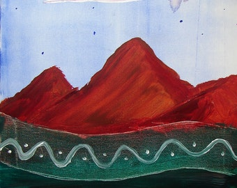 Red Mountains - Original Acrylic Painting on Canvas 16x20 - edges unpainted, stapled