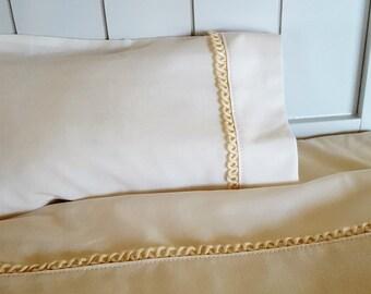 American Girl/Maplelea 18 in Doll Bedding Luxury Ecru Trimmed Sheets