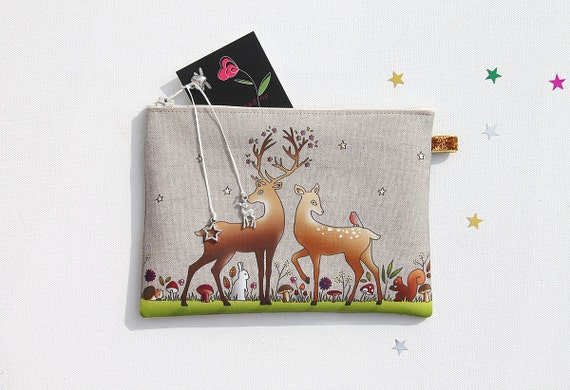 """Pocket linen illustrated """"the enchanted forest"""""""