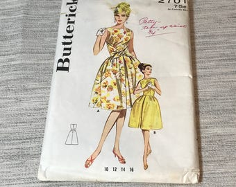 Vintage Butterick 2701Bell Skirted Dress Pattern