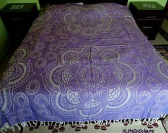 Purple colour floral soft natural cotton double bed cover, blanket, sofa cover, camping blanket.