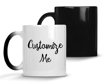 Custom Coffee Mug, 11oz Color Changing Mug, Black to White when hot Coffee Cup, Customized Magic Mug, Personalized gifts