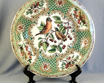 Daher Decorated Ware // Hand Decorated // Tin Bowl // Songbird Design