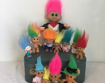 Vintage Troll Dolls, Lot of 12, Assorted Sizes