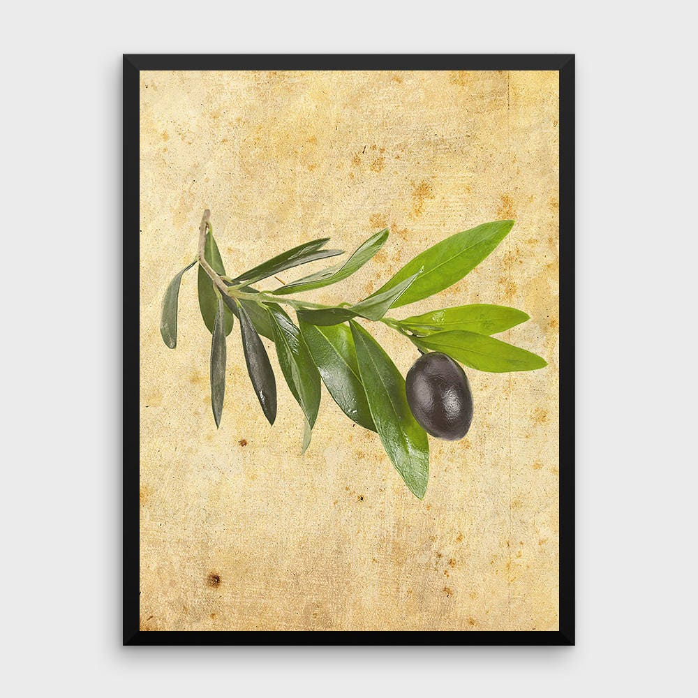 Vintage Olive Leaves Print Botanical Art Decor Green