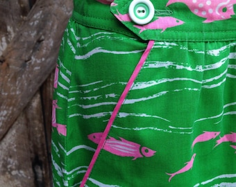 Vintage 60s 70s green and pink fish summer skirt