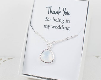 White Opal Silver Necklace, White Opal Bridesmaid Necklace, Bridesmaid Jewelry, Bridesmaid Gift, Wedding Jewelry