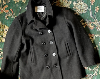 Mens Large XL Authentic Navy Wool Peacoat 44 Black Wool with Anchor Button and quilted lining / Lined Wool Peacoat with two front pockets