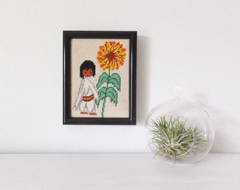 Vintage Southwest Needlepoint of Mid Century 1960's SouthWest Arizona Artist Ted DeGrazia Sunflower Boy Flower Child Retro 60's Wall Decor