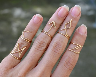 Wire Wrapped Rune Ring, Futhark Runes Wire Rings Above Knuckle Midi Ring Jewelry