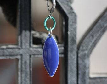 Blue Leaf  -  single earring