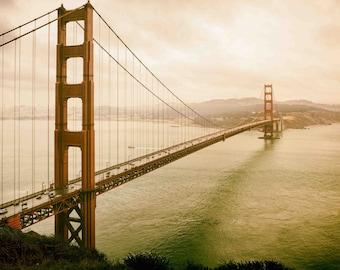 Golden Gate Bridge in Mist, San Francisco California Landmark, Vintage, Orange, Beige - Mist on the Golden Gate