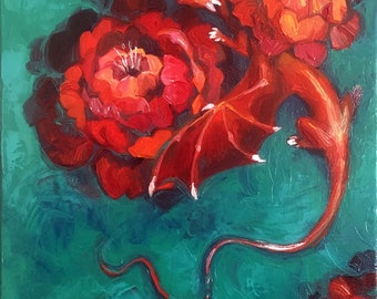 "dragon among the peonies (Original oil painting 12""x12"")"
