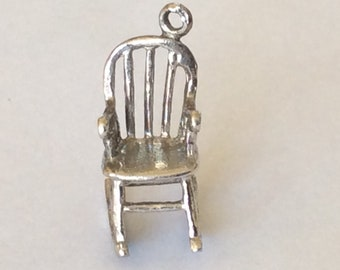 Sterling silver arm rocking chair charm vintage # S 809