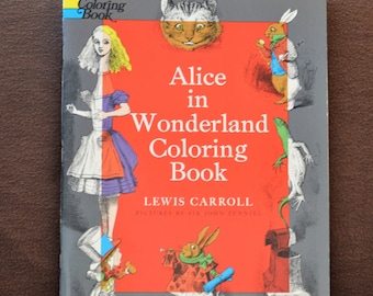 Alice in Wonderland Coloring Book/Story Book/Lewis Carroll/Dover/Coloring Book Gift/Coloring Book/Adult Coloring Book/1972