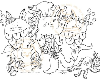 Digi Stamp Instant Download. The Purrmaids - Knitty Kitty Digis No. 37