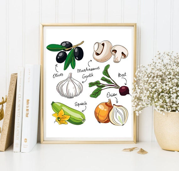 Kitchen Decor Vegetables: Wall Art Vegetables Print Decor Printable Kitchen Decoration