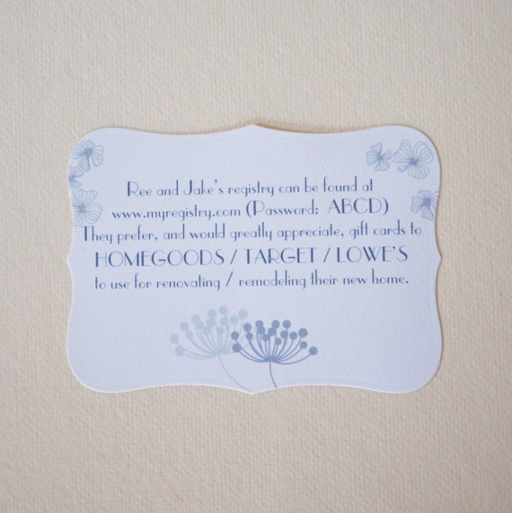 Wedding Registry Search By Name: Set Of 15 Registry Card Wedding Registry Card Lingerie