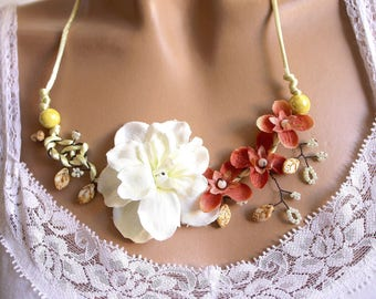 Necklace branch floral and ceramic Lime yellow.