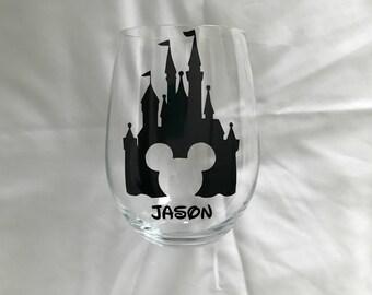 Personalized Disney Stemless Wine Glass, Disney Castle Wine Glass, Disney Lover Wine Glass