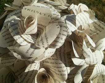 Book Page Paper Roses, Book Page Flowers, Wedding Book Flowers, Paper Flowers, Custom Book Page Paper Rose, Book Bouquet, Wedding Bouquet
