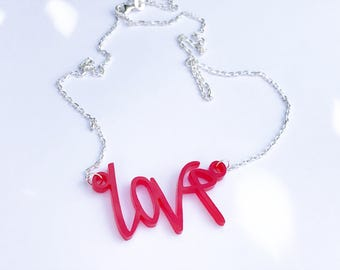 Perspex love necklace