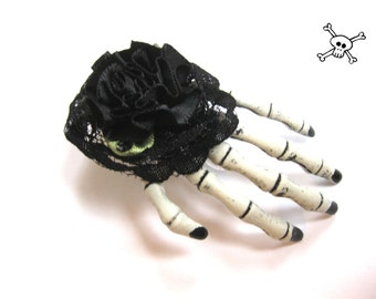 Hair clip skeleton hand black rose headpiece