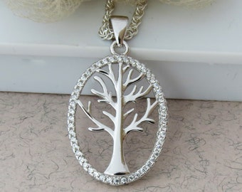 925 Sterling Silver Tree Necklace,  Silver Tree Necklace, Tree Jewelry, Mothers Gift, Family Tree Necklace, Tree Necklace