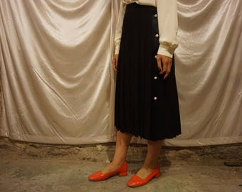 80's Black Wool Pleated Midi Skirt / 27' / S