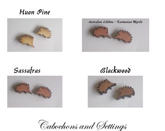 Echidna Cabochons Tasmanian 4 Natural Wood Choices Laser Cut For Earrings etc  Number Choice  Made in AUSTRALIA