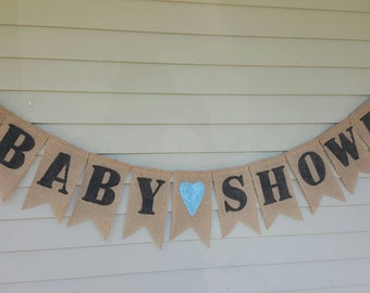 Baby boy shower burlap banner. Made by a stay at home veteran