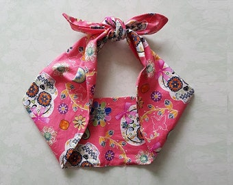 pink sugar skull day of the dead bandana,  rockabilly pin up psychobilly  hairband headband