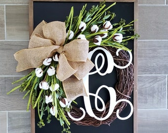 Cotton Grapevine Wreath. Year Round Wreath. Spring Wreath. Summer Wreath. Door Wreath. Grapevine Wreath.
