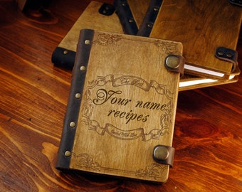 Recipe book gift for mum wooden notebook bridal shower gift personalized recipe journal custom recipe notebook gift for her