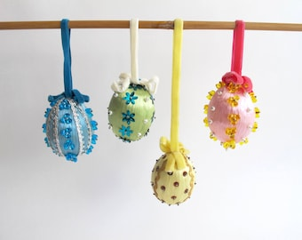 Vintage Easter Egg Ornaments, Kitschy Easter Decor