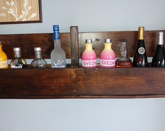 Wine rack made from recycled pallet.