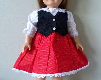 Handmade Doll Clothes Black velvet vest Dress fits any 18 inch doll, Handmade Christmas Doll Dress