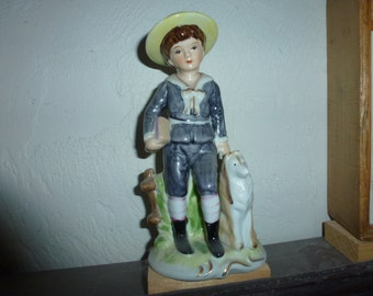 Collectible Hand Painted Boy Figurine with Dog