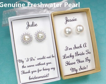 Bridesmaid gifts, freshwater pearl earrings, bridesmaid earrings, bridesmaid gift,bridal party gift,pearl stud earrings, pearl select